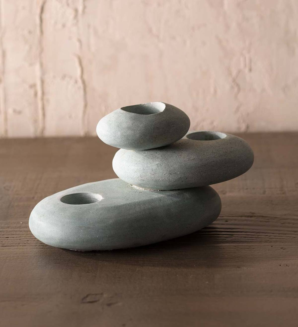 Zen Stone Cairn Tealight Holder - Blue