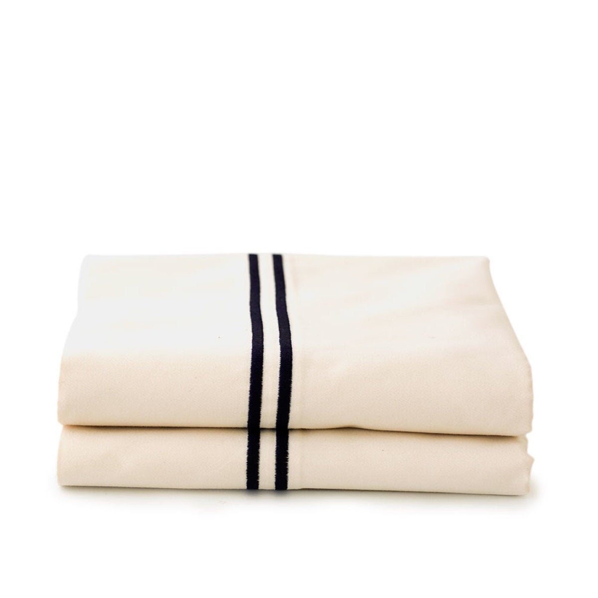 500 Thread Count Sateen Satin Stitch King Pillowcases - Set of 2 - White - Ivory
