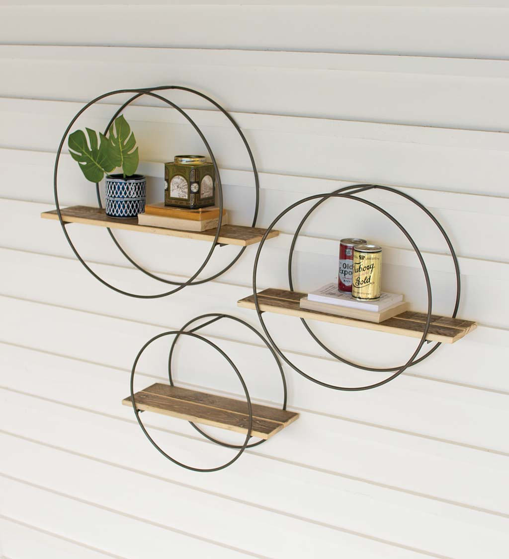 Recycled Wooden Shelves with Round Metal Frames, Set of 3