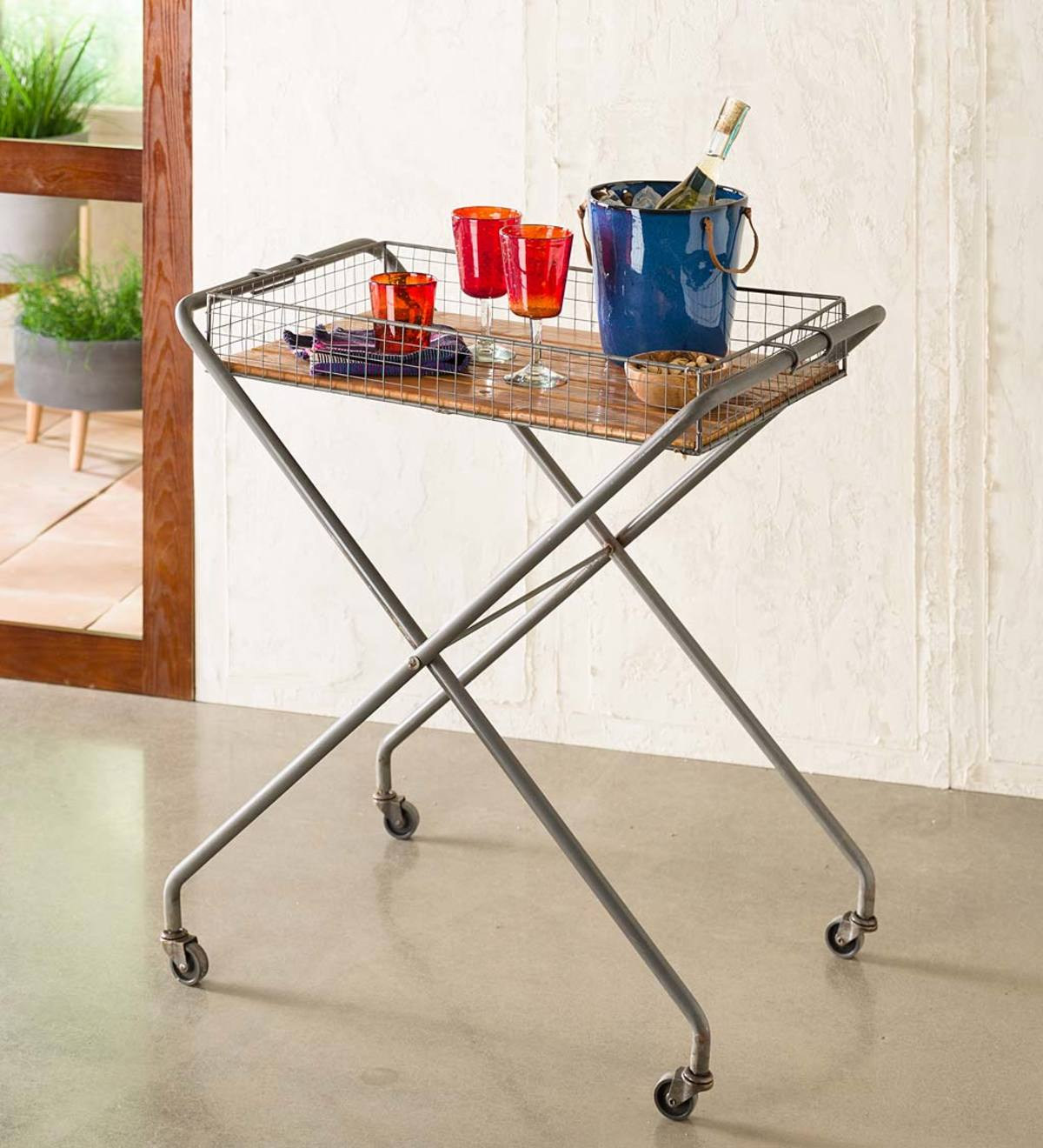 Metal Tray Bar Cart