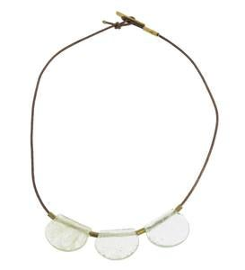 Playa Glass Drop Brass Necklace
