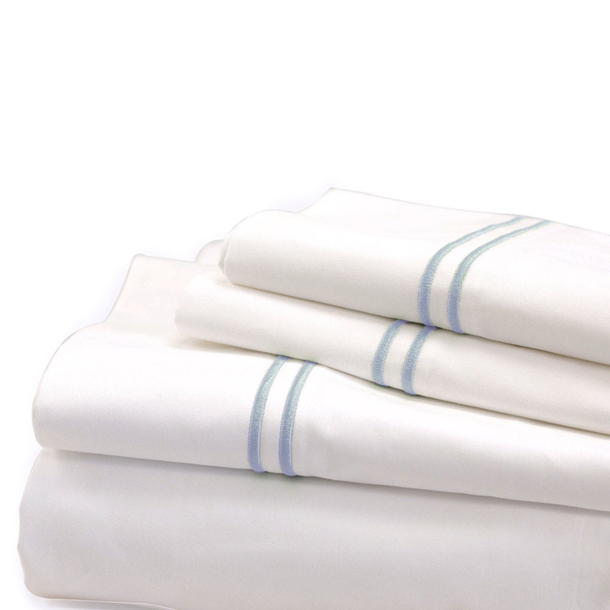 500 Thread Count Sateen Satin Stitch King Sheet Set - White, Blue