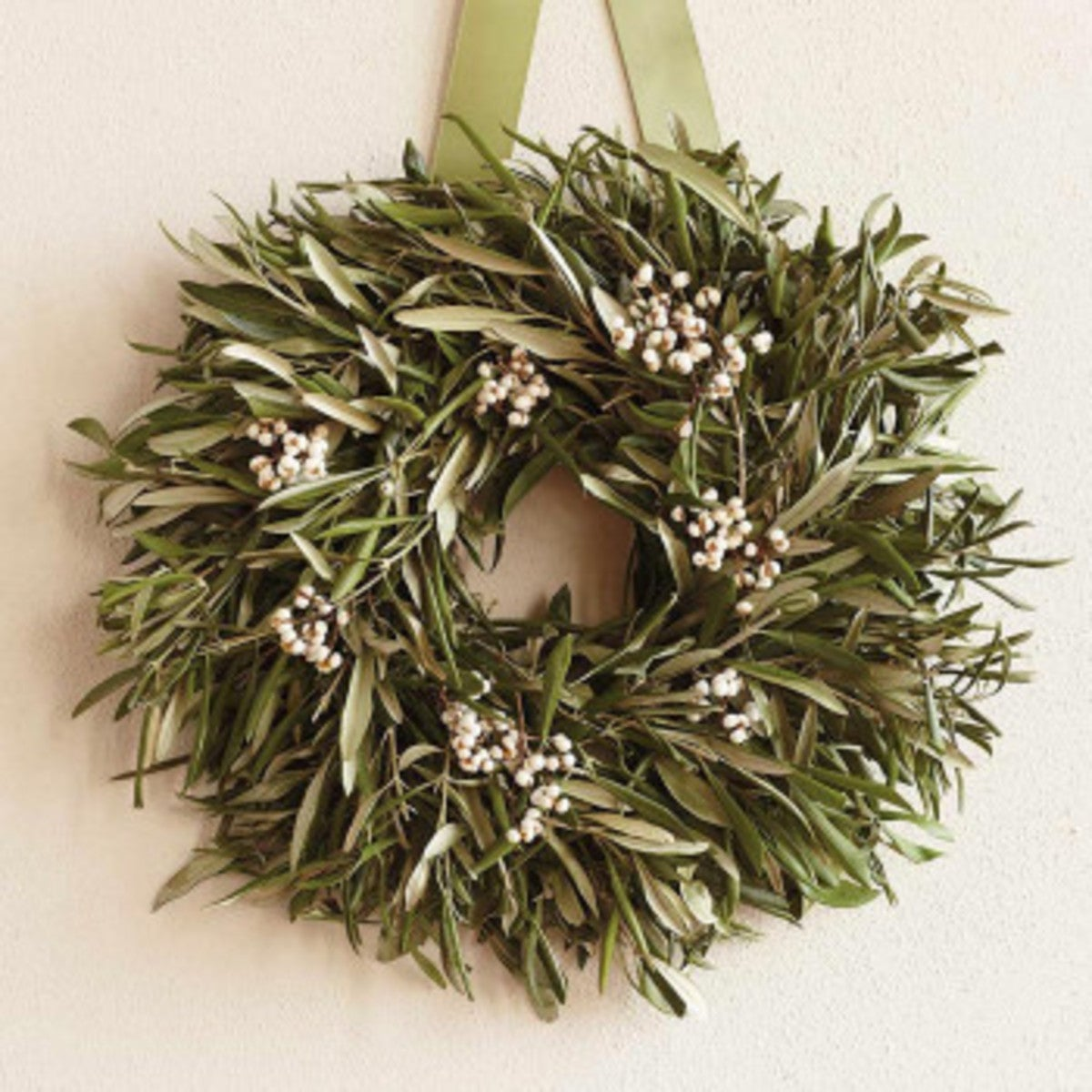 Organic Tallow Berry & Olive Leaf Wreath without Hanger