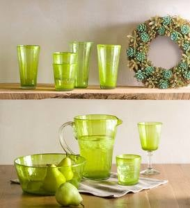 Bright Bubbled Recycled Glassware Collection