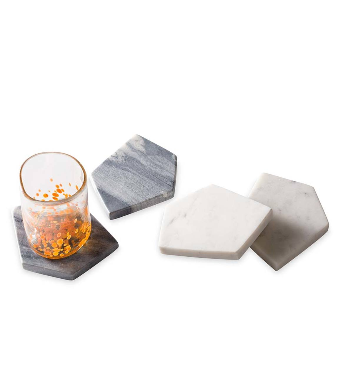 Geometric Marble Coaster Set