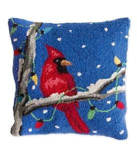 Hand-Hooked Red Cardinal Pillow