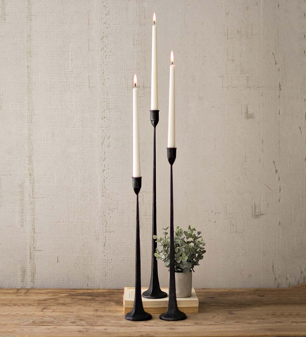 Slim Iron Candle Holders, Set of 3