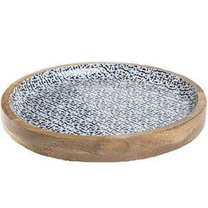 Jesse's Indigo Enamel Coated Mango Wood Serving Tray
