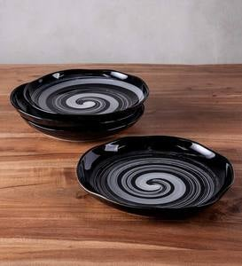 Black Swirl Ceramic Dinner Plates, Set of 4