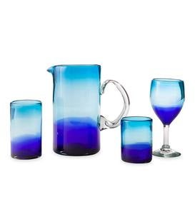 Blue Crush Recycled Glass Tumbler, Set of 4