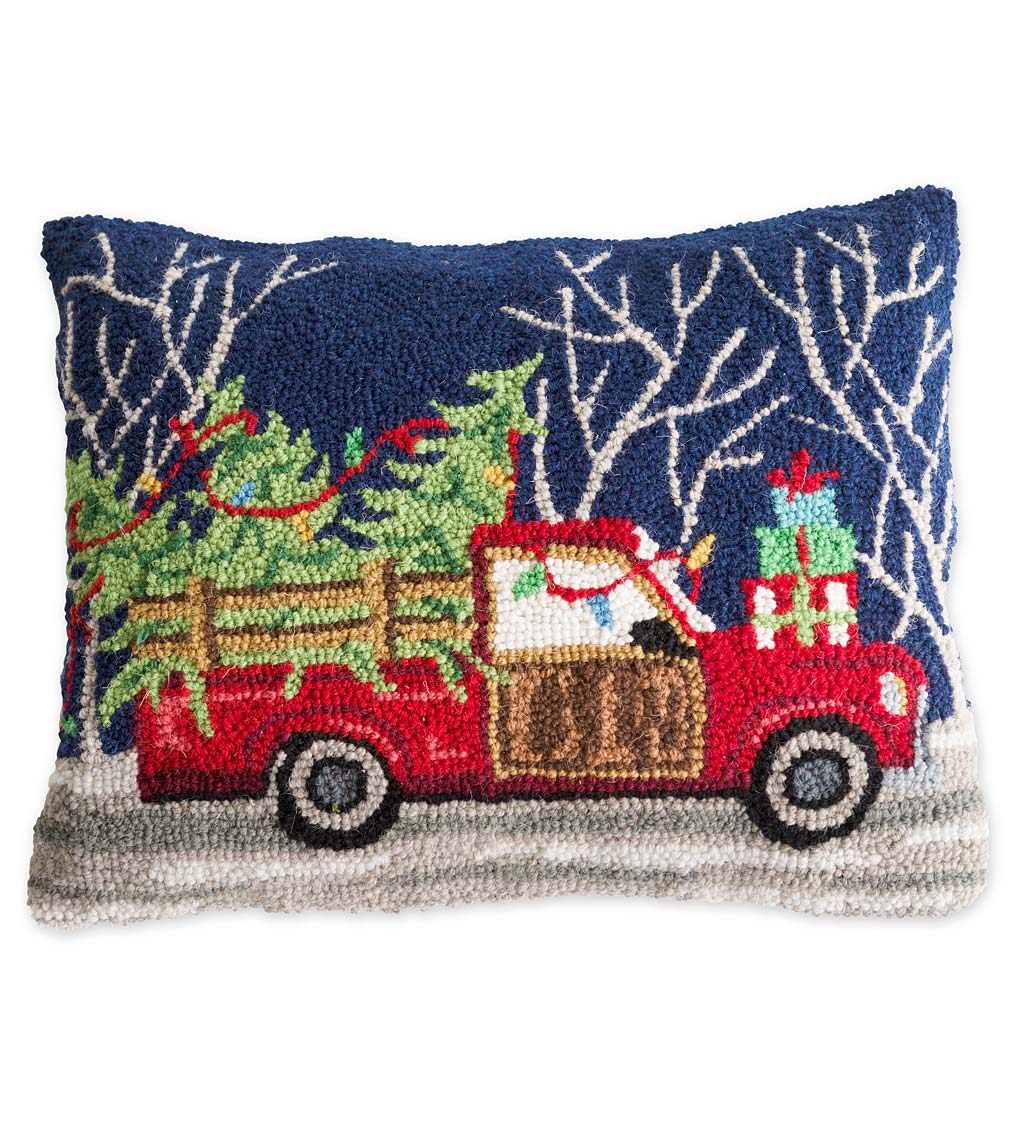 Hand-Hooked Truck with Tree Holiday Pillow