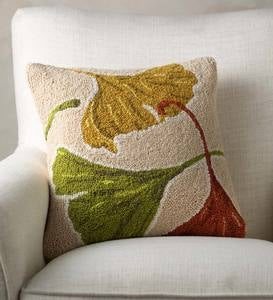 "Colorful Ginkgos Hand-Hooked Wool Decorative Throw Pillow, 16""Square"