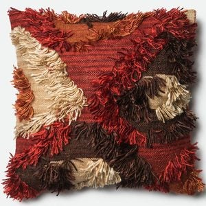 Loloi Handwoven Camel Ikat Fuzzy Pillow - Granite