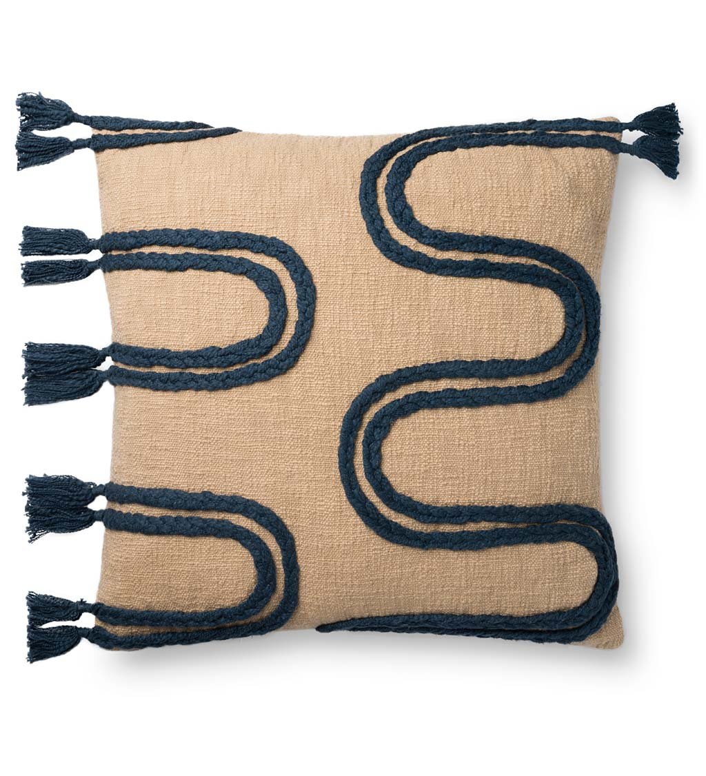 "Wavy Fringe Pillow, 22"" Square"