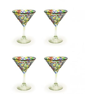 Confetti Recycled Martini Glass, Set of 4