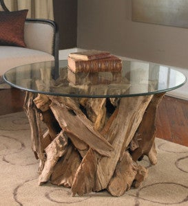 Teak Driftwood & Glass Coffee Table