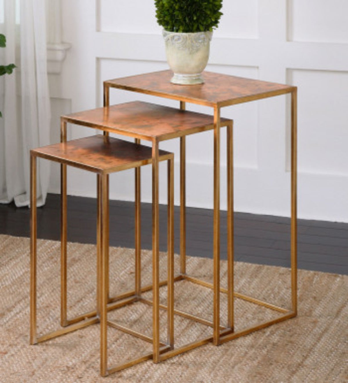 Gold Leafed Iron Nesting Tables, Set of 3