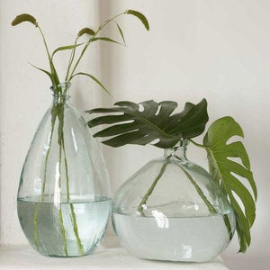 "Recycled Glass Balloon Vase, 13"" - Clear Askew"
