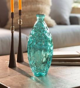 "Dune Tall Recycled Dimpled Glass Vase, 12""H"