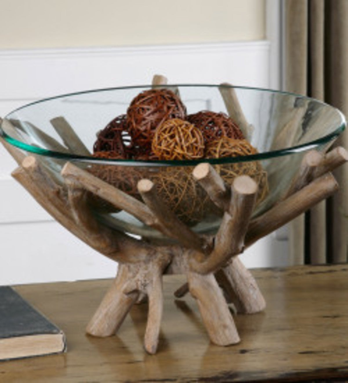 Thoro Wood Branch Nested Glass Display Bowl