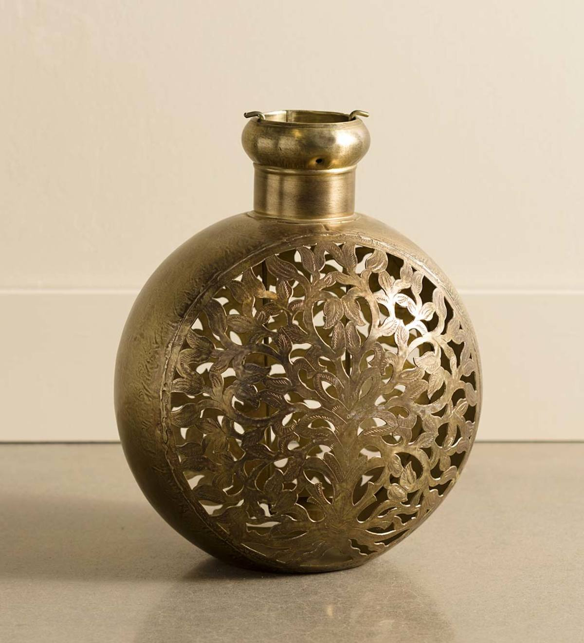 Small Handcrafted Tree of Life Metal Candle Lantern - Brass