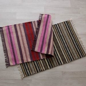 "Handwoven Cotton Striped Small Rug, 33""L x 21""W"