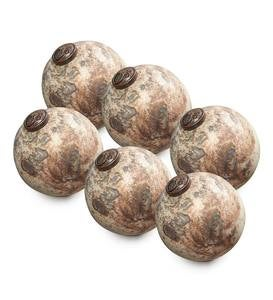 Speckled Mercury Glass Ornaments, set of 6 - Turqoise