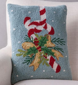 Hand-Hooked Wool Candy Cane Pillow