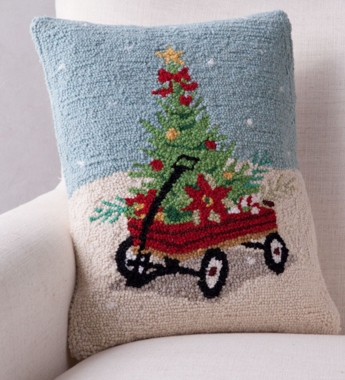 Hand-Hooked Wool Wagon with Tree Pillow