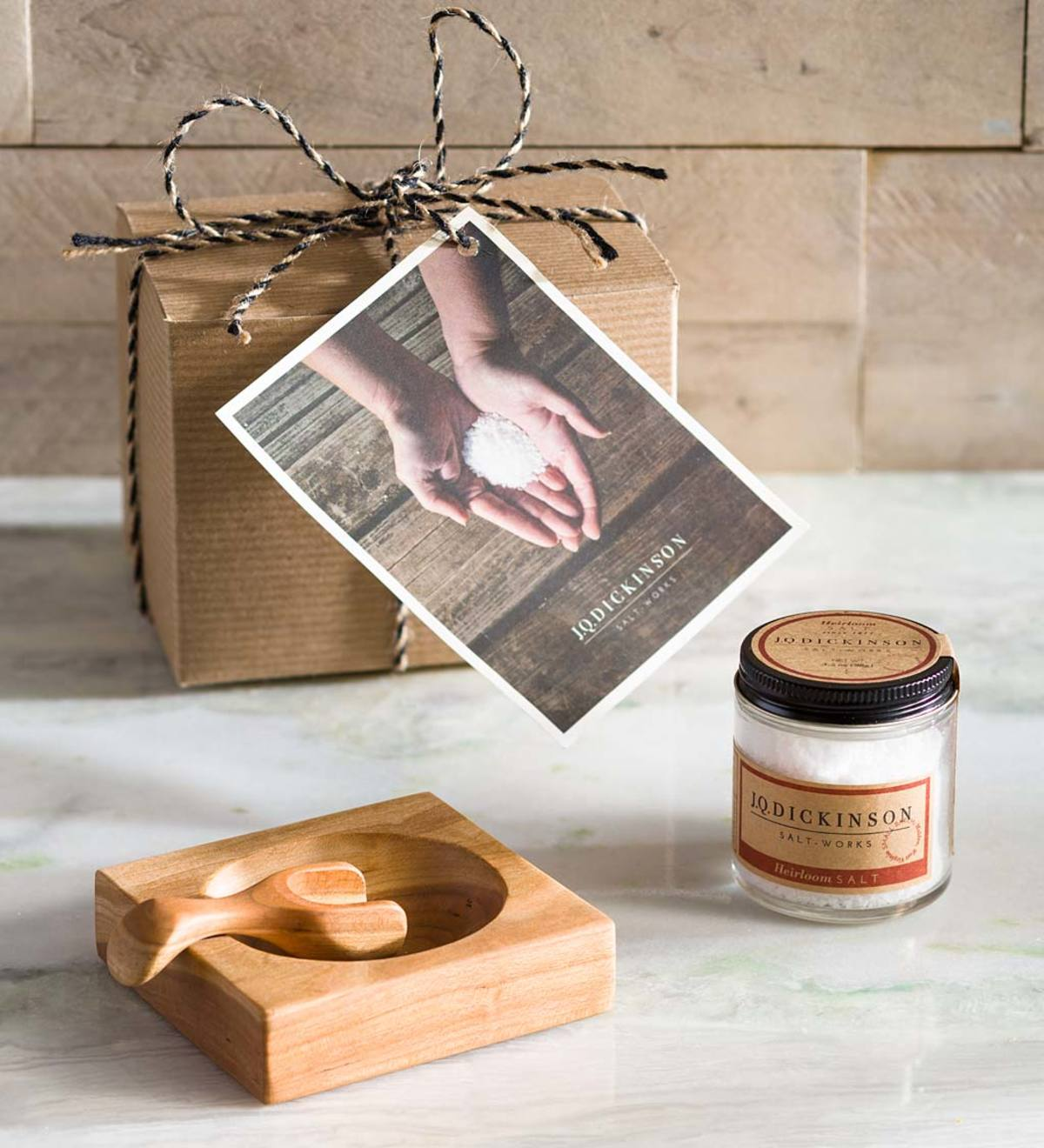 Salt with Wood Cellar and Scoop Gift Set