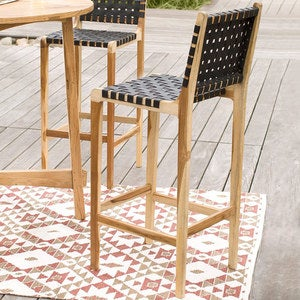 Teak and Recycled Rubber Outdoor Stool