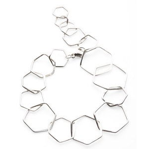 Artisan-Made Silver Hexagon Jewelry Collection