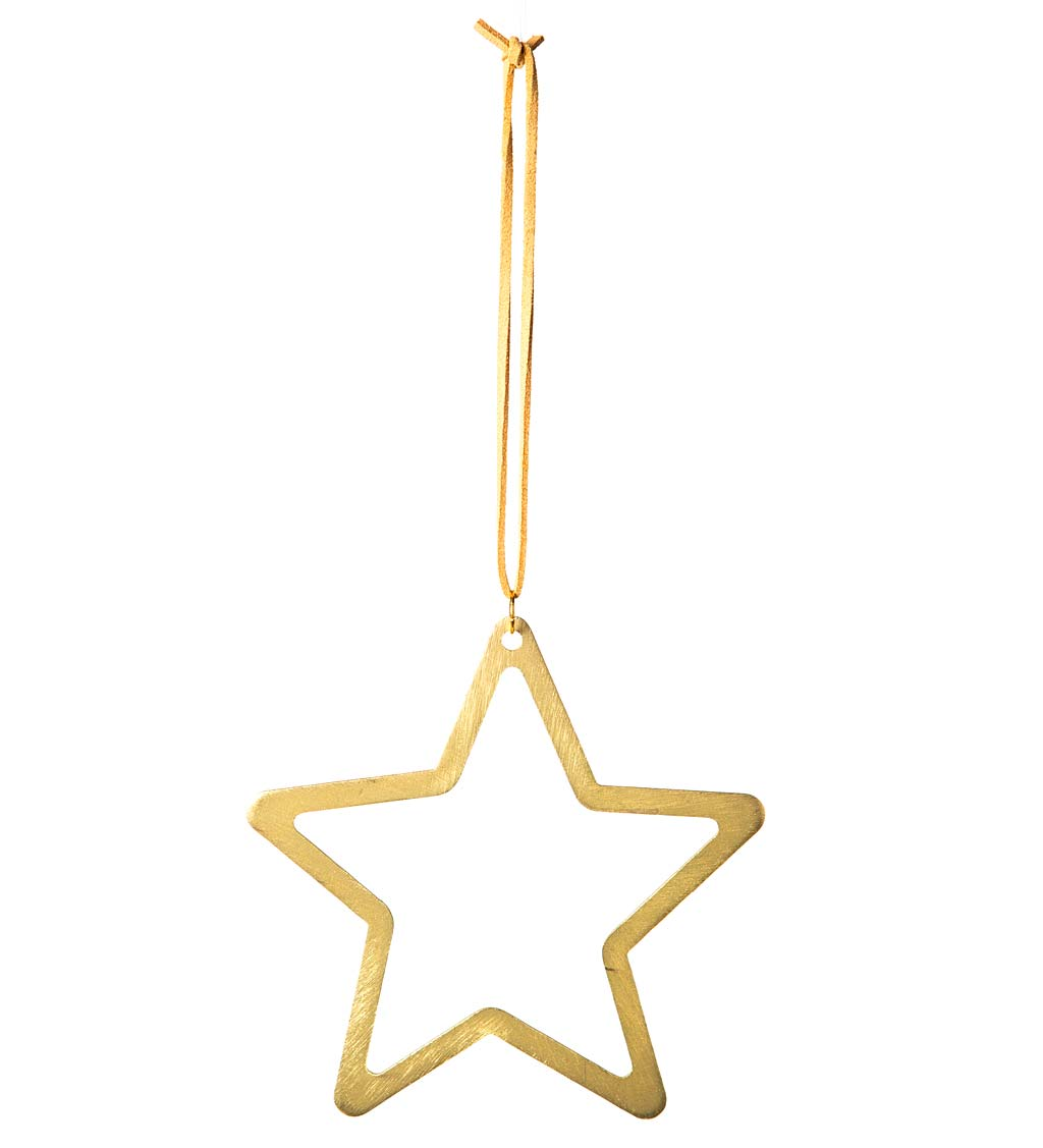 Gold Metal Star and Moon Silhouette Ornaments