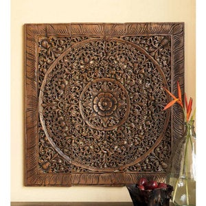 "Teak Lotus Handcarved Wall Panel - 68"" x 70"""