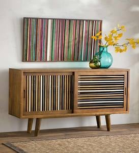 Hand-Stained Natural Stripe Mango Wood Sideboard