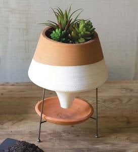 Natural and White Terracotta Funnel Planter with Wire Base
