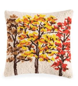 "Fall Trees Hand-Hooked Pillow, 16""Sq"
