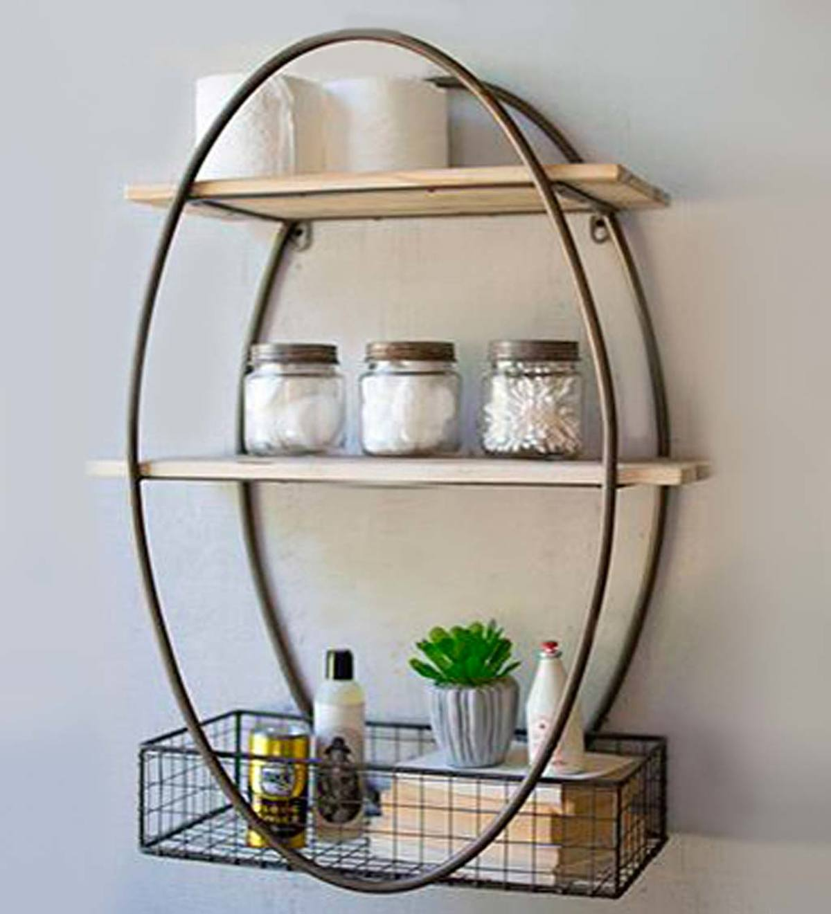 Oval Metal Wall Unit with Recycled Wood Shelves