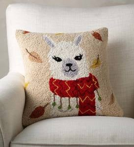 "Fall Llama Hand-Hooked Wool Decorative Throw Pillow, 16""Square"