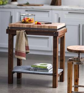 Reclaimed Wood Butcher Block Island