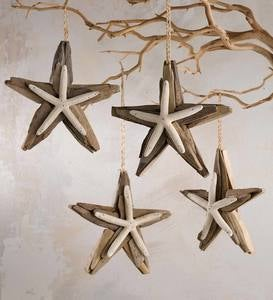Driftwood Starfish Ornament Set of 4