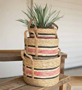 Multi-Stripe Rush Baskets, Set of 3
