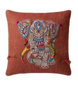 Mandala Elephant Applique Throw Pillow