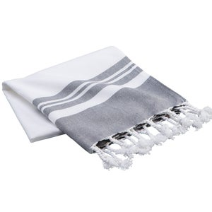Fringed Turkish Cotton Stripe Bath Towel - Gray
