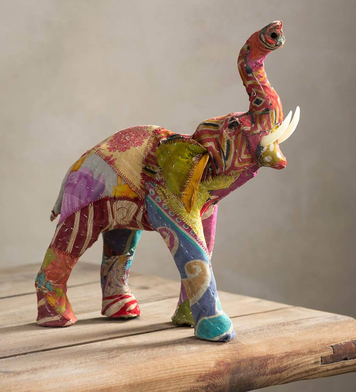 Up-cycled Kantha Elephant Sculpture