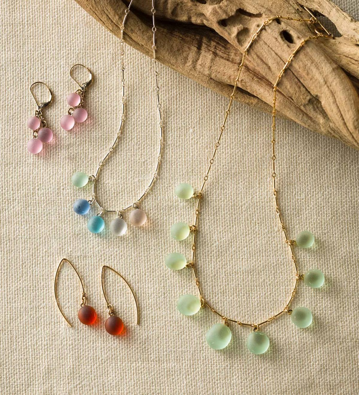 Sea Glass Necklace and Earring Collection
