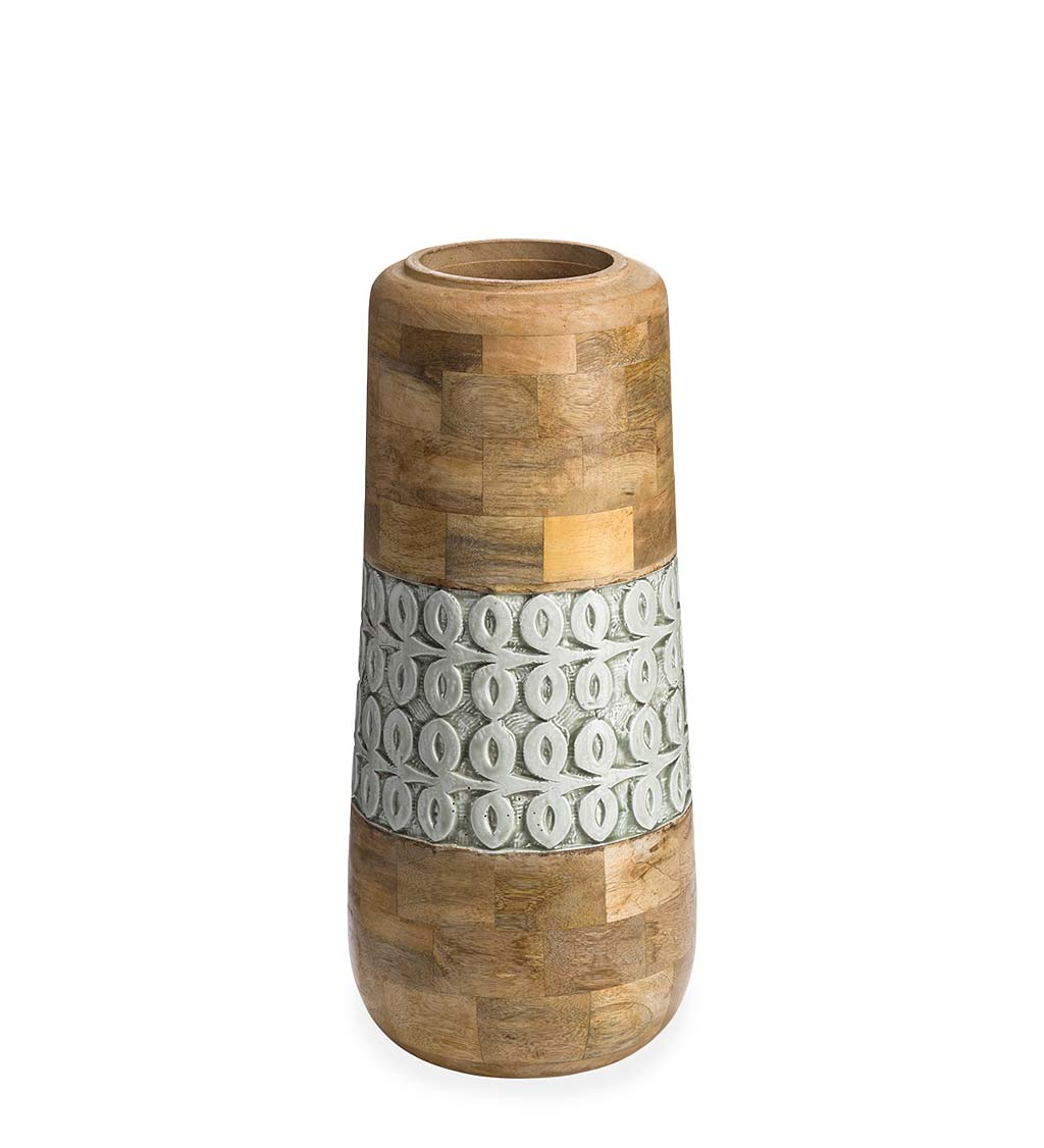 Mango Wood and Enamel Vase, Medium