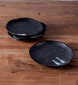 Hand-Painted Ceramic Zazen Salad Plates, Set of 4