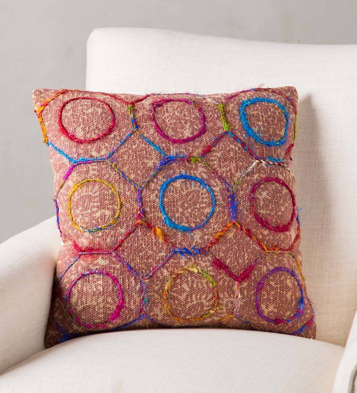 "Handmade Dabu Print 18"" Pillow Cover"
