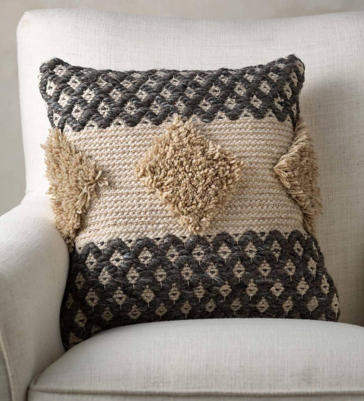 Woven Boho Textured Throw Pillow Gray And Tan Vivaterra